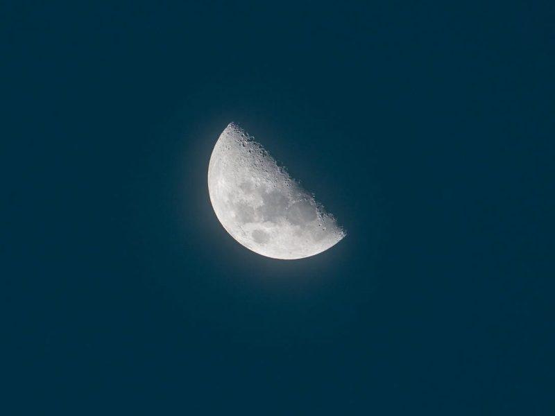 half moon on dark sky
