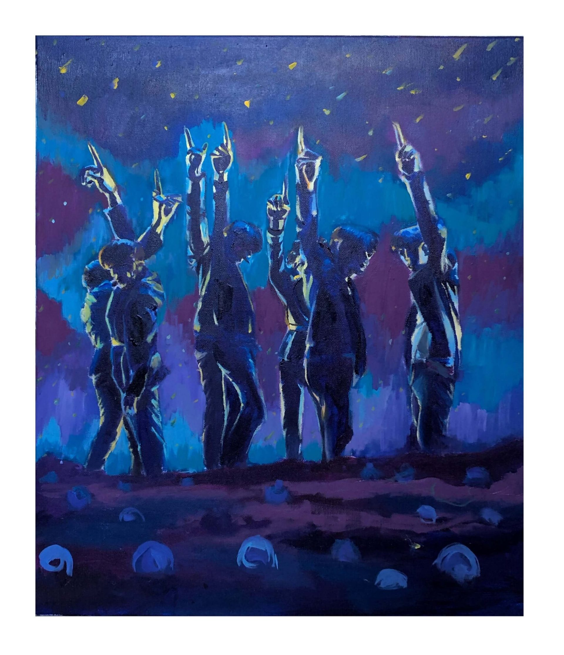 A painting of the members of BTS on stage pointing their fingers skyward