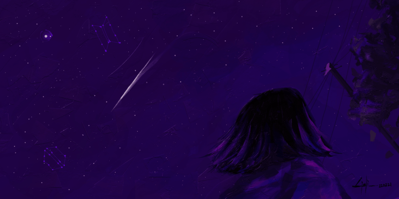 A girl stares up at a purple night sky