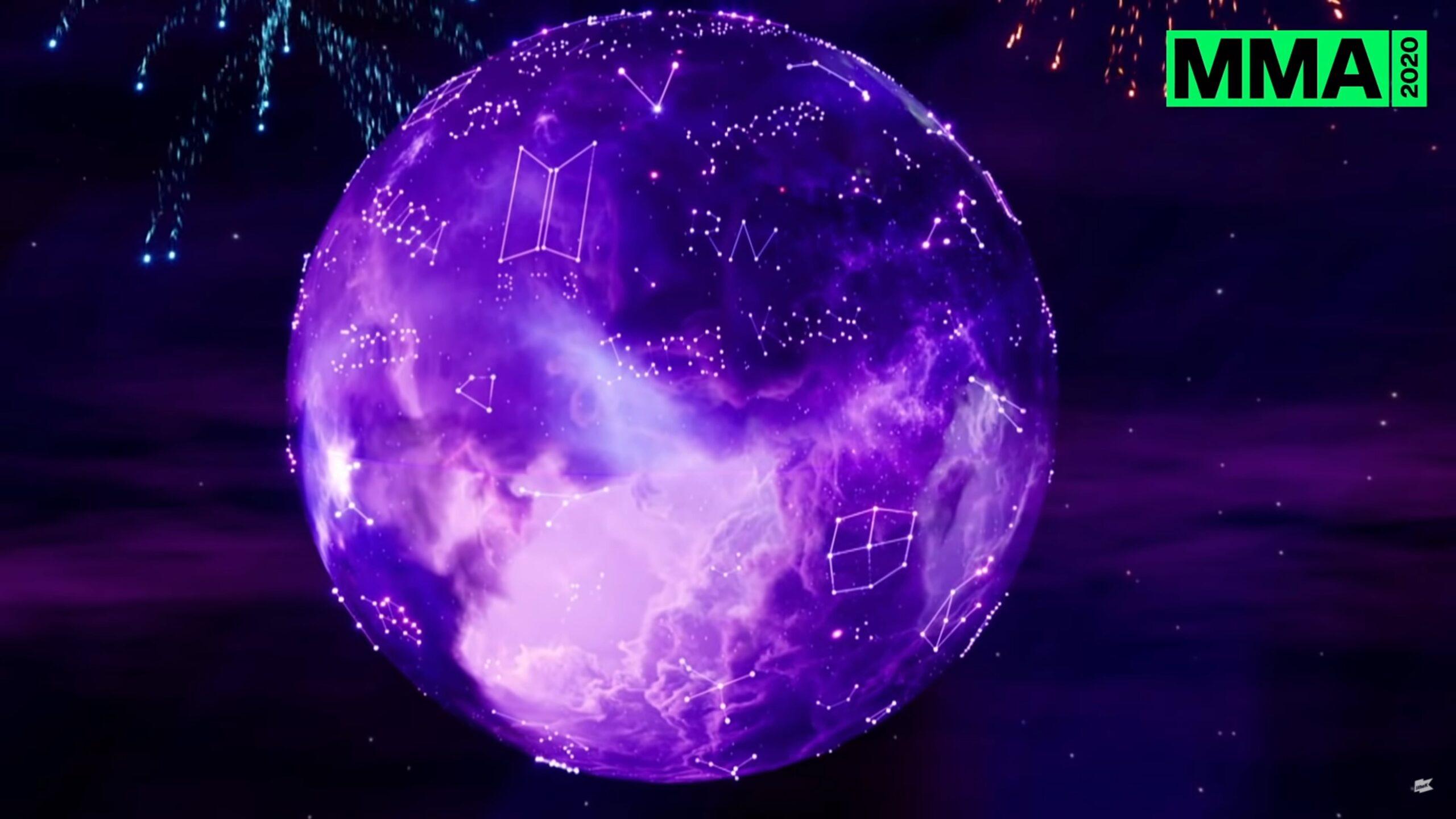 Purple constellations circle a globe