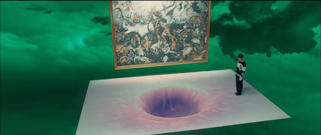 A male figure stands on a white surface next to what could be interpreted as a white hole