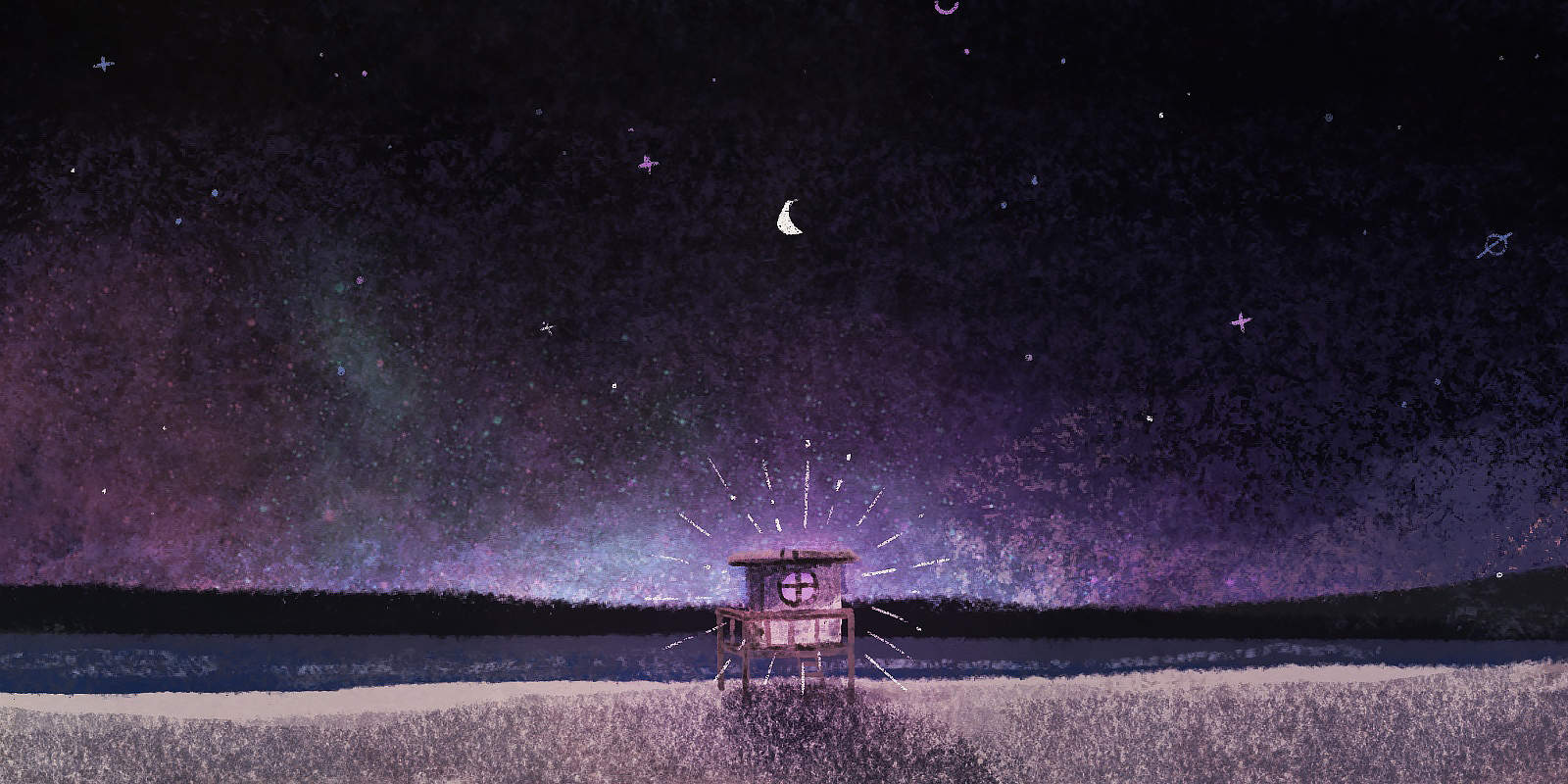 A lifeguard tower glows with a purple hue on an empty beach at night