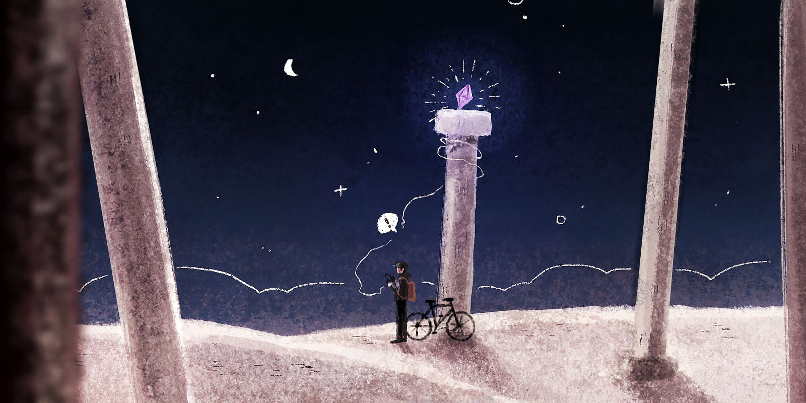 A person in a baseball cap stands next to their bike, looking out at the night sky while holding a pair of broken headphones