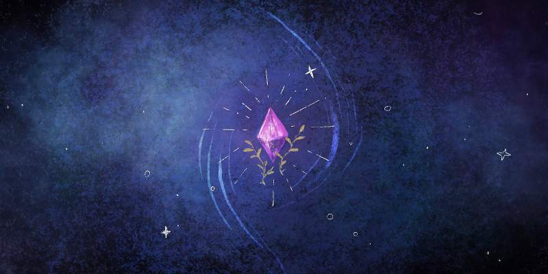 A purple crystal glows in the night