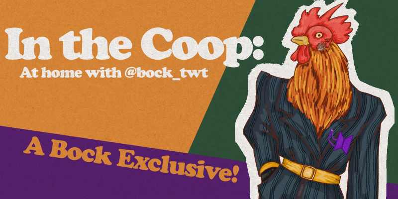"""The sexiest chicken you'll ever see struts their stuff in a pin-striped suit, complete with a golden belt and sparkling BTS brooch... """"In the Coop"""" indeed."""
