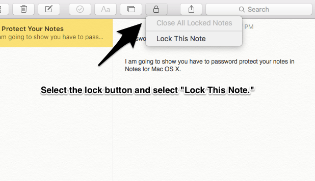 How to Password Protect Notes on Mac OS X 2