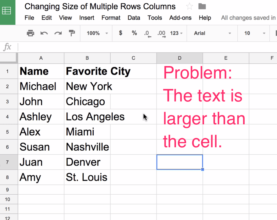 How to Adjust Size of Multiple Rows and Columns Evenly in Google