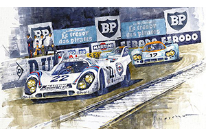 1971 Le Mans 24 Porsche 917K Martini Racing Team Watercolour on paper motorsport art by yuriy shevchuk