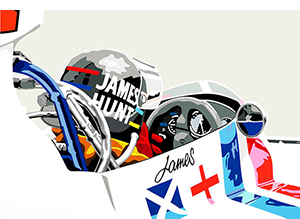 Speedicons-james-hunt-hesketh motorsport art by joel clark
