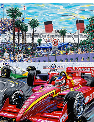 The Quick and the Red –motorpsort art by randy owens – Indy cars