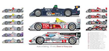 Audi ALMS motorsport art by steve petrosky