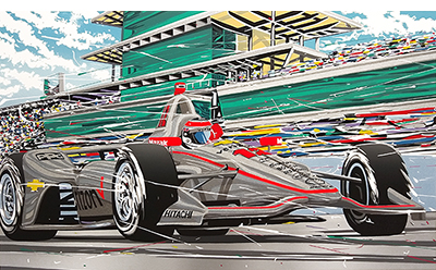 Will Power at Indy motorsport art by randy owens
