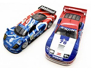 Red, white & blue 1/43 models ixo saleen and kyosho nissan 300zx