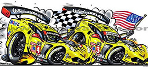 c7r car-toon corvette racing art by roger warrick
