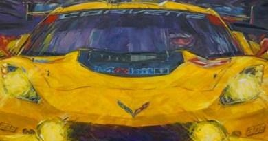 corvette race car art by roger warrick