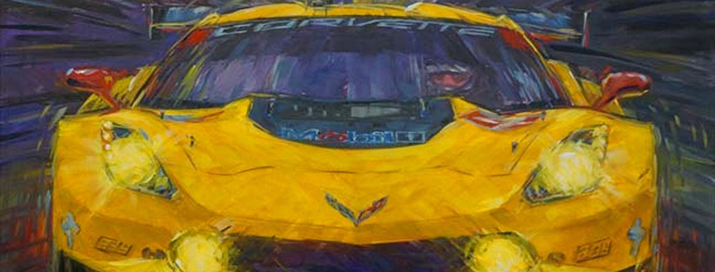 corvette race car art by roger warrick