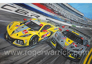 daytona debut corvette racing art by Roger Warrick