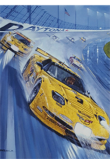 earnhardt at daytona corvette racing art by Roger Warrick