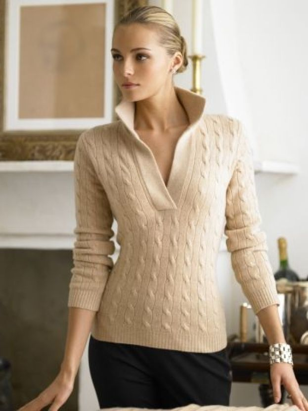 1) Classic Ralph Lauren Style Cable-Knit Sweater