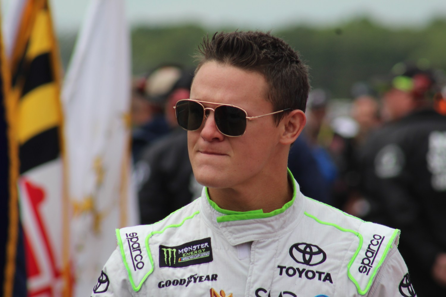 Gray Gaulding walks during driver introductions for the 2018 Pocono 400. (Tyler Head | The Racing Experts)