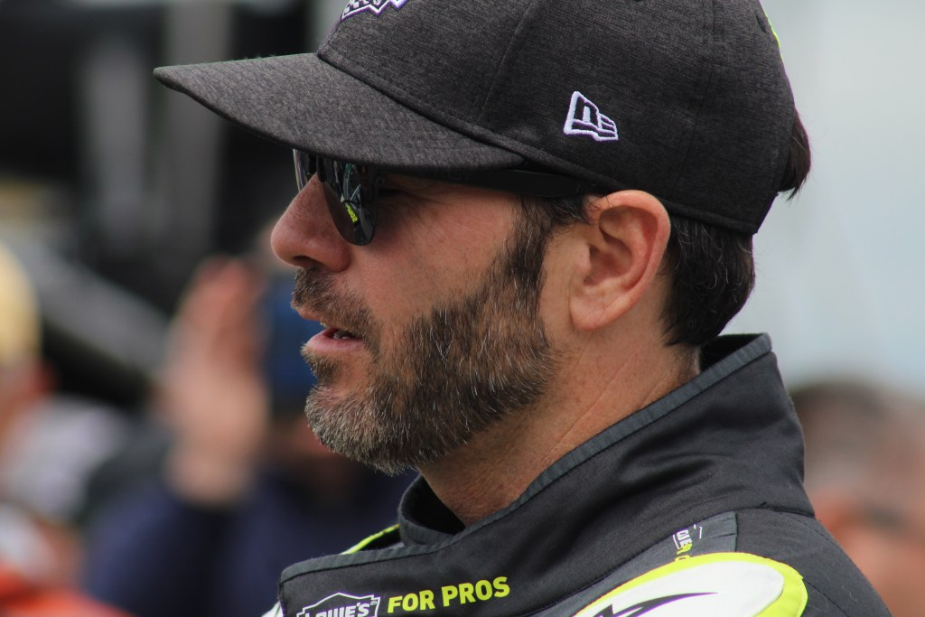 Jimmie Johnson on pit road ahead of the 2018 Pocono 400. (Tyler Head | The Racing Experts)