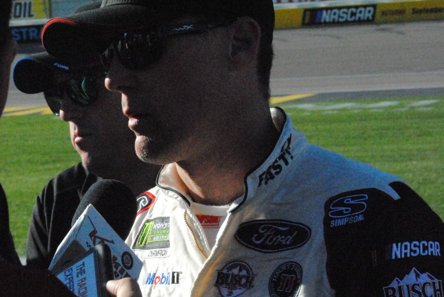 Kevin Harvick talks with reporters post-race of the Pennzoil 400 at Las Vegas Motor Speedway. Photo by Chris Madrid/The Racing Experts.