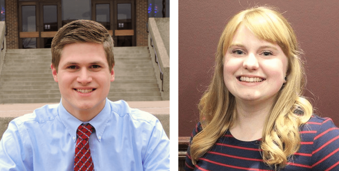Student Association President Schimmel (left) and Vice President Mason (right).