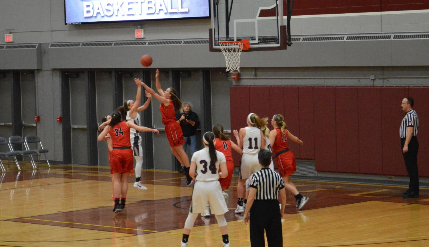 Eagles junior Kylee Marks (11) positions for the rebound in Wednesday's victory over UWRF