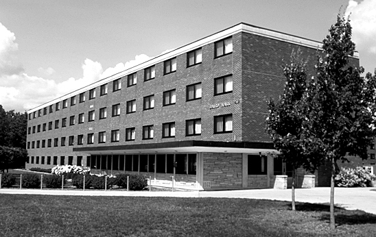 Photographed is Baird Hall, one of the three demolished residence halls.