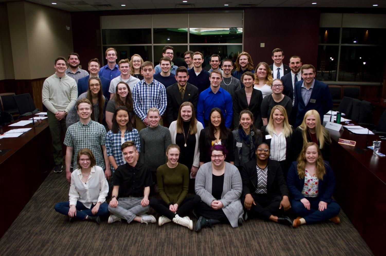 Student Senate members pose for their spring 2019 photo, taken by Carly Rundle-Borchert