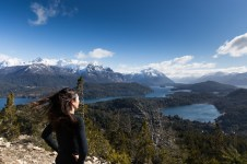 Cerro Campanario has a 360 degree panoramic view; here is Donna looking towards northwest.