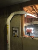 3 inch Radon Vent Piping running into crawlspace