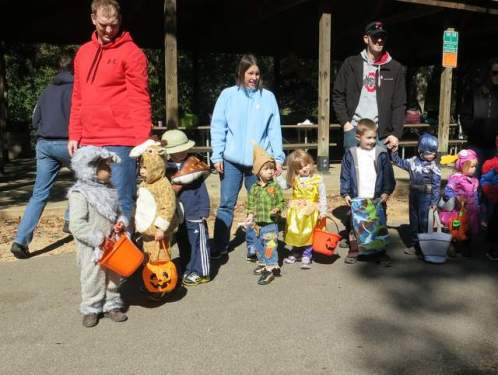Lined up for trick-or-treating with my play group.