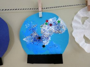 Snow globe 1 - Connor painted, glittered, and pom-pommed