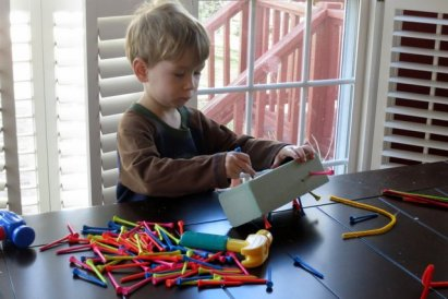 """Hammering in the """"marking pegs"""" - just like in one of my favorite books, """"Roadwork."""""""