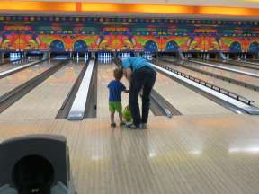 My first time bowling at a big bowling alley!