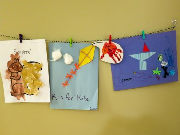 """Squirrel (Toddler Time), """"K is for Kite"""" and leaf hand print (preschool - K, seasons), a chalice (Sunday school)"""