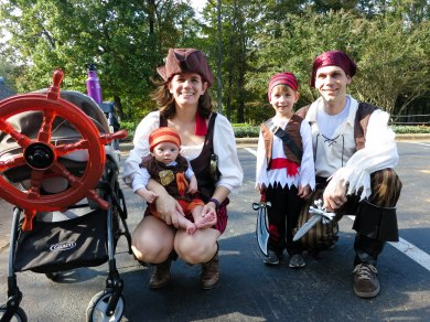 We all wore pirate costumes for the kid's parade in our neighborhood.