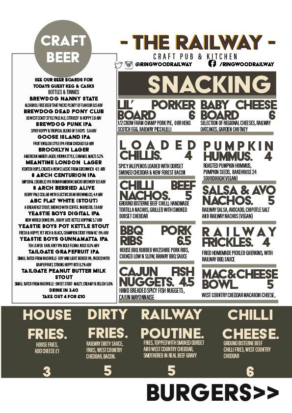 Ploughman's and bar snackMENU RINGWOOD RAILWAY