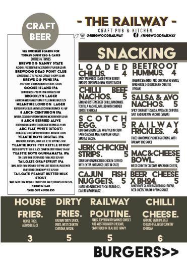 October Snacking and Craft Beer Menu at Ringwood Railway