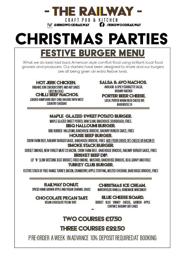 Burger Joint Vegan Friendly Christmas Party Menu Ringwood