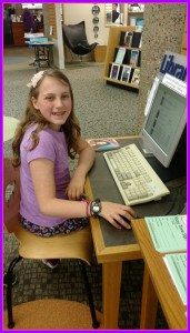 tRR 2016-04-07 Belle at the computer at the library