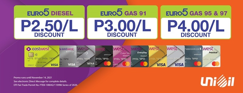 Get Up To P4.00/L Off When You Gas Up At Unioil With Your EastWest Card