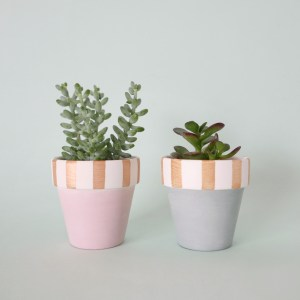 Candy Cane Pots (pink and duck egg blue)