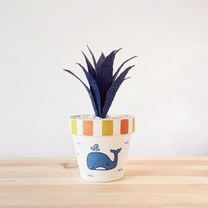 Whale of a Time pot with Paper Succulent