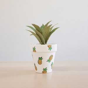 Pineapple Pot with Paper Succulent
