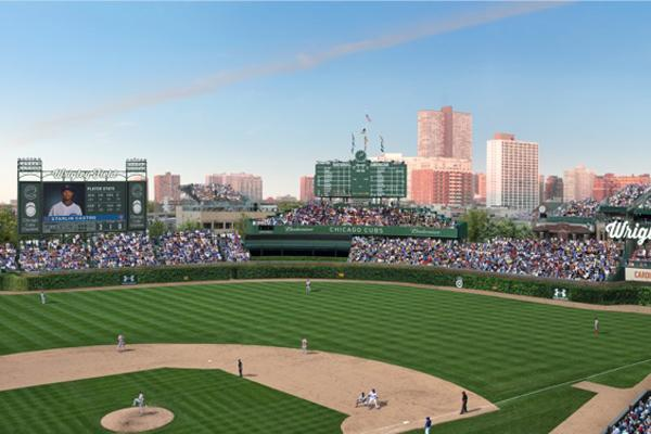 A mock-up of the proposed outfield renovations.
