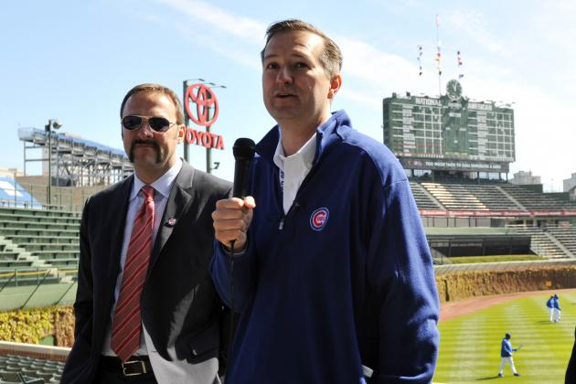 Tom Rickets (right) and one of the greatest mustaches of all time (left) at Wrigley Field.