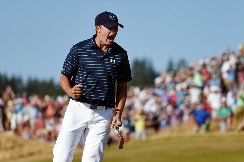 Spieth celebrates a birdie in the final round of the 2015 U.S. Open. (Ross Kinnaird/Getty Images)