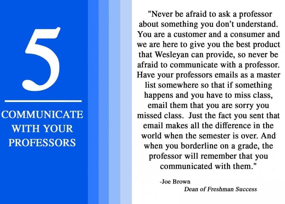 5 communicate with your professor